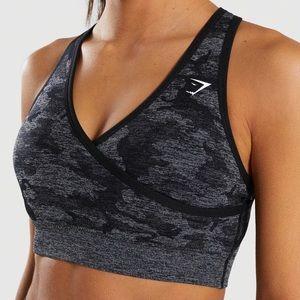 NWT GymShark Black Camo Seamless Sports Bra S